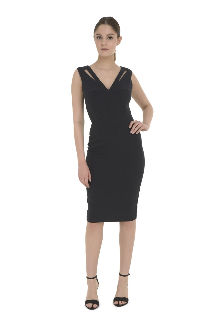Natalia Black Pencil Dress