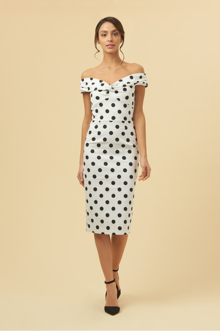 Novak Off THe Shoulder Polka Dot Pencil Dress