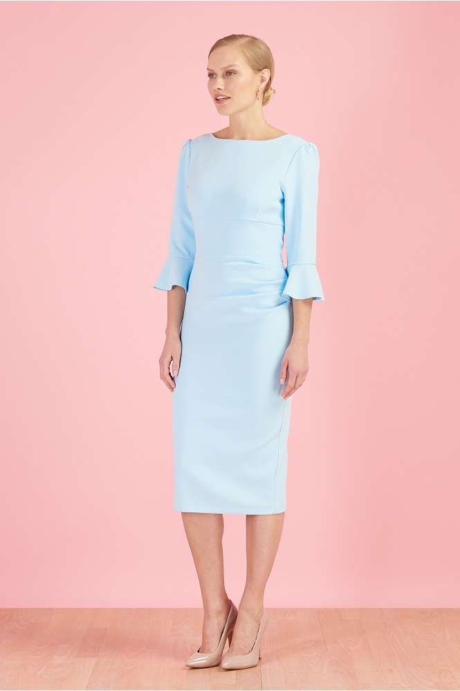 The Pretty Dress Company Odelle 3/4 Fluted Sleeve Pencil Dress - End of line