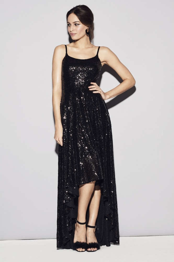 The Pretty Dress Company Priscilla Black Sequin Gown