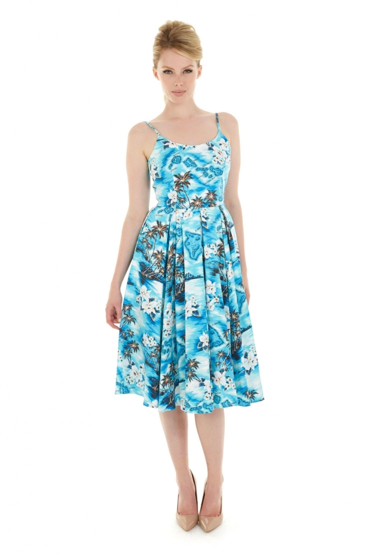 Priscilla Blue Hawaii Midi Dress