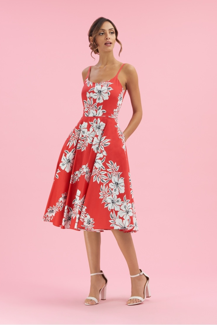 Priscilla Hawaiian Midi Swing Dress