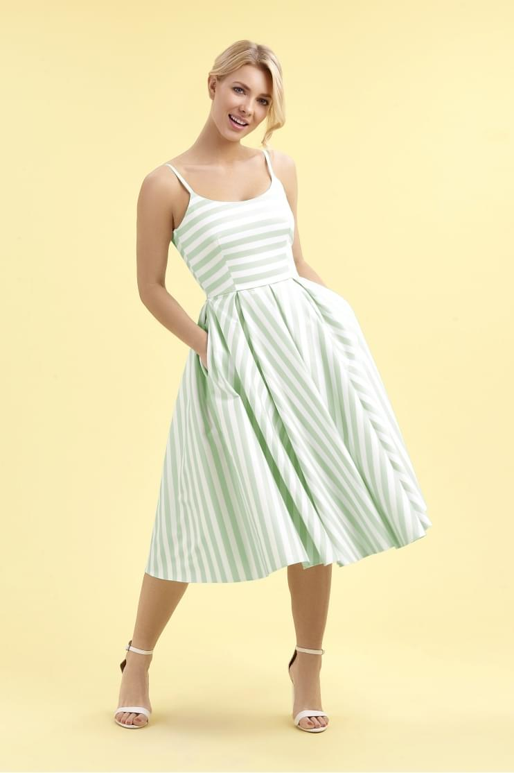 Priscilla Mint & White Candy Stripe Midi Dress