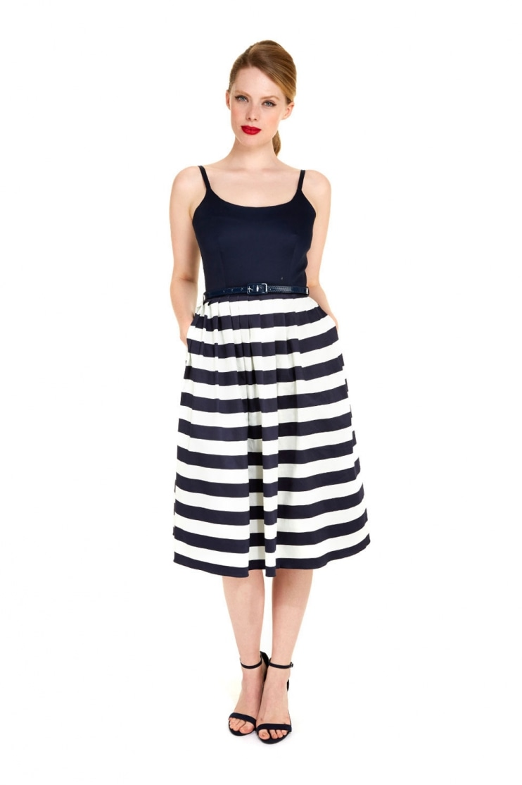 Priscilla Navy Contrast Stripe Midi Dress