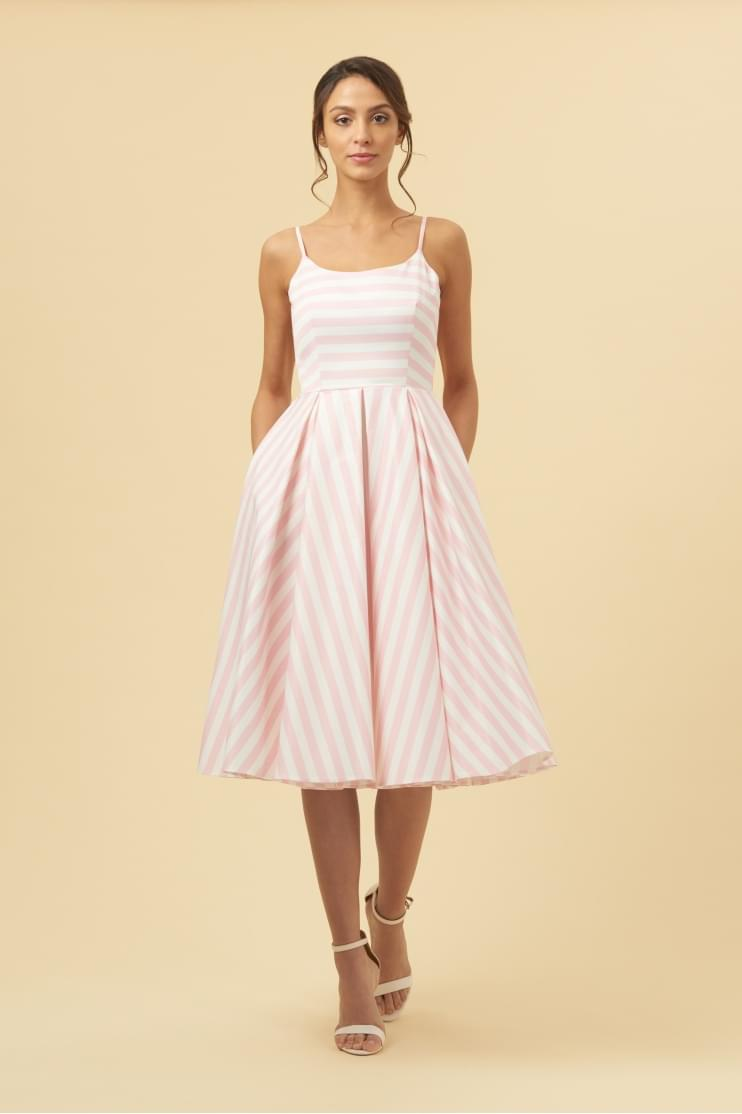 Priscilla Pink & White Candy Stripe Midi Dress