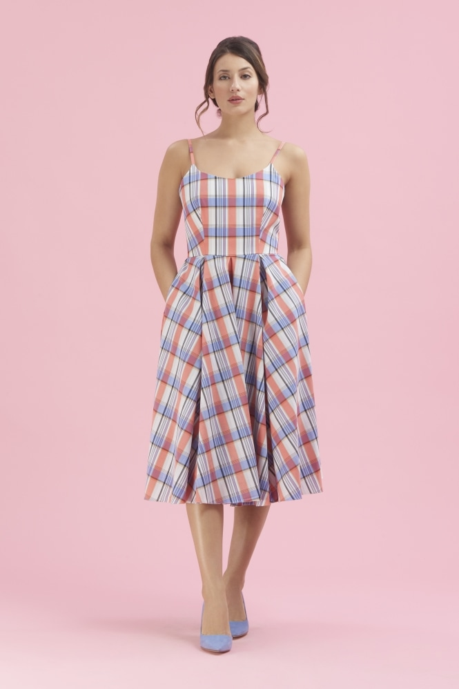 The Pretty Dress Company Priscilla Plaid Midi Dress