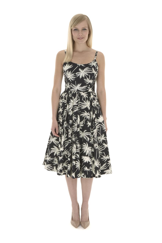 Retro Palm Midi Dress