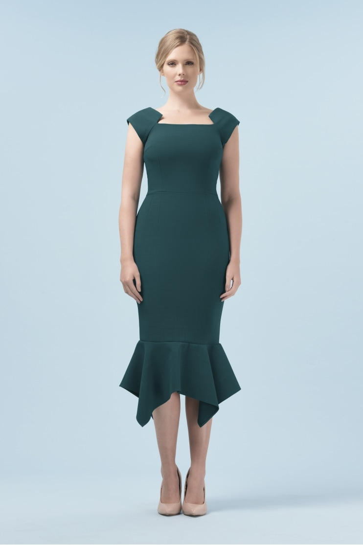 Saskia Geometric Neckline Dress