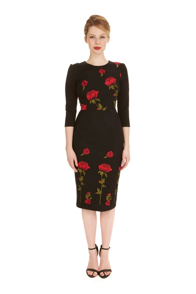 The Pretty Dress Company Suki Pencil Dress in Embroidered Rose