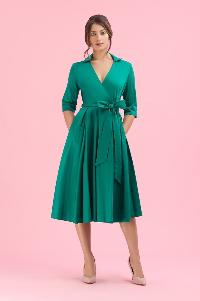 The Pretty Dress Company Taylor Emerald 1950's Wrap Dress