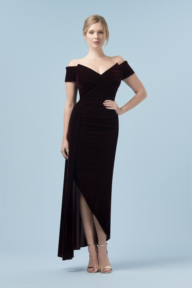The Pretty Dress Company Temptress Bordeaux Velvet Gown