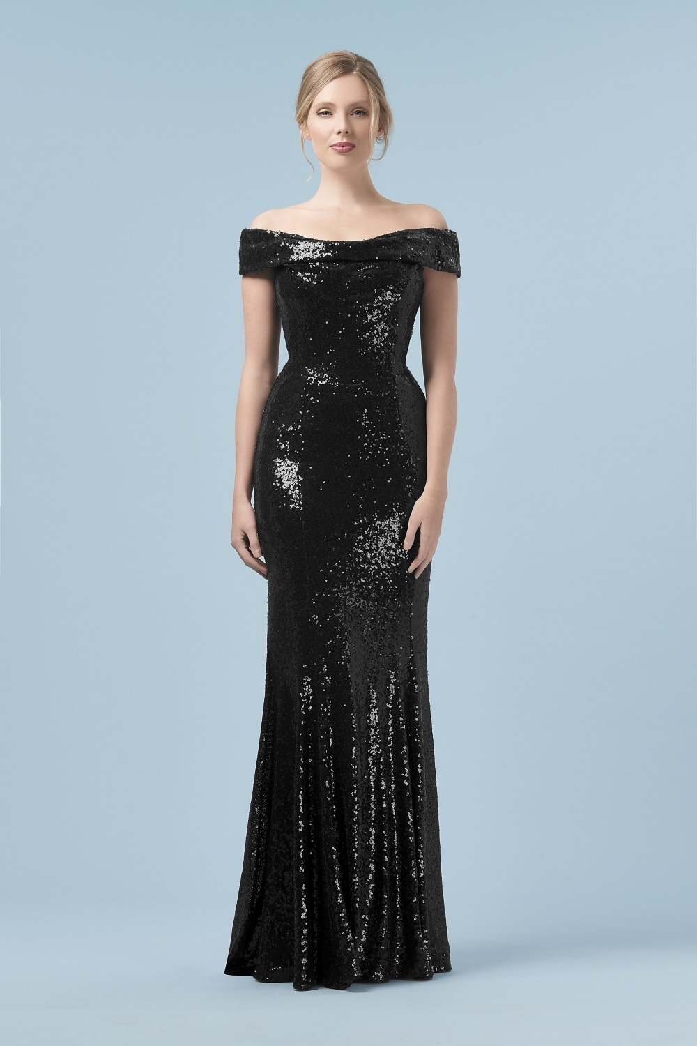 The Pretty Dress Company Thea Black Sequin Gown