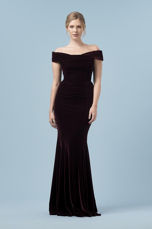 Thea Bordeaux Velvet Gown