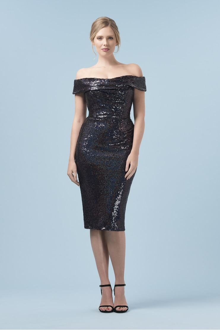 Thea Hologram Sequin Pencil Dress