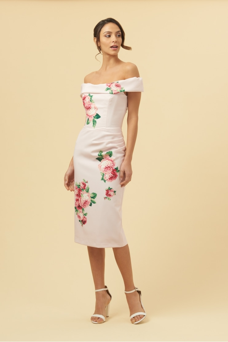 Thea Lamour Floral Motif Pencil Dress