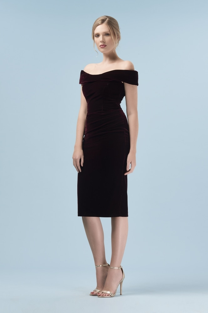 The Pretty Dress Company Thea Velvet Pencil Dress