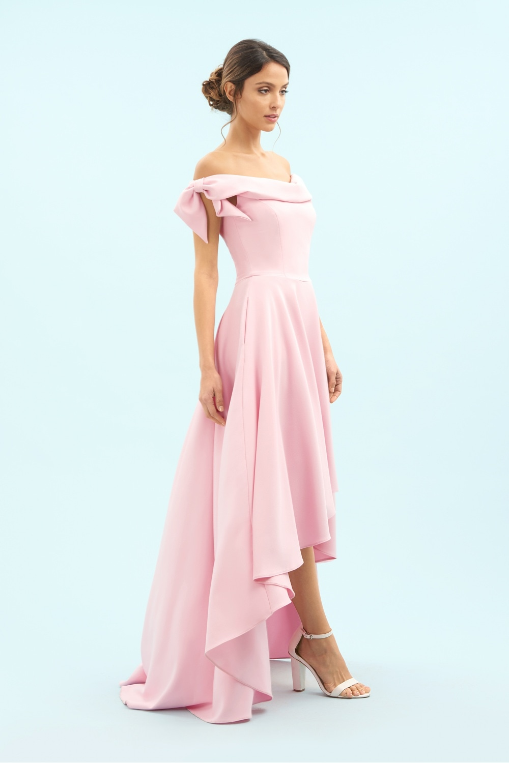 06a74c1deeb91 Tilly Off The Shoulder Bow High-Low Gown
