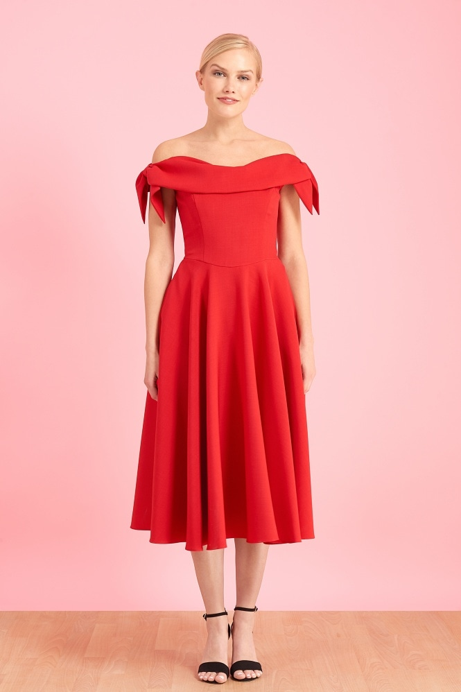 The Pretty Dress Company Tilly Off The Shoulder Bow Midi Dress