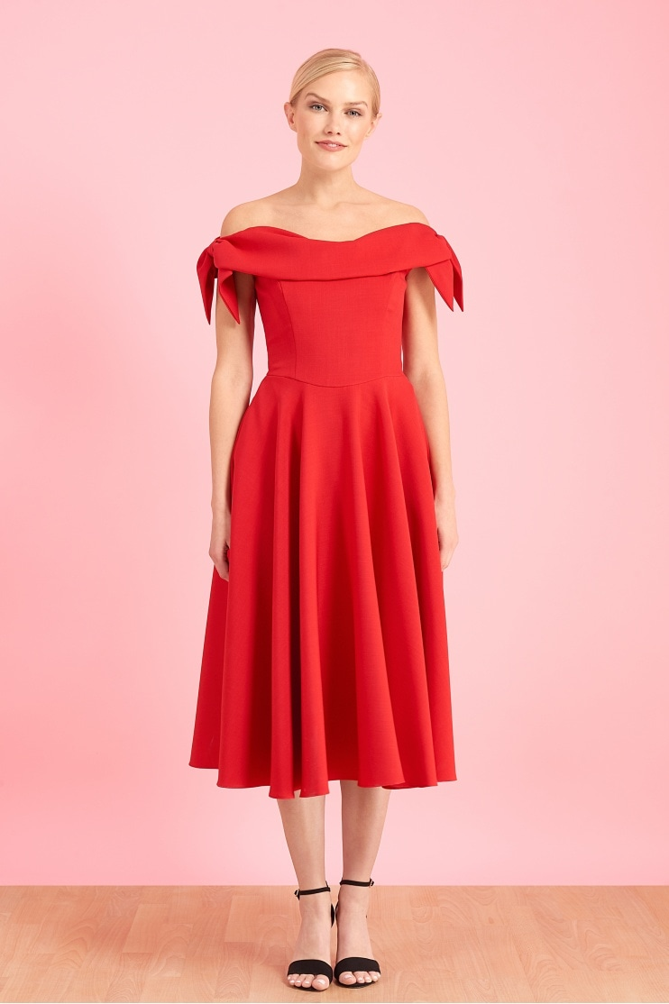 e6244cc7fc97 Tilly Off The Shoulder Bow Midi Dress
