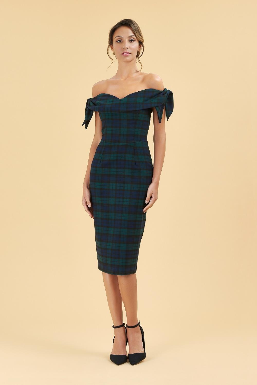 ba56d4a85ec The Pretty Dress Company Tilly Tartan Off The Shoulder Pencil Dress