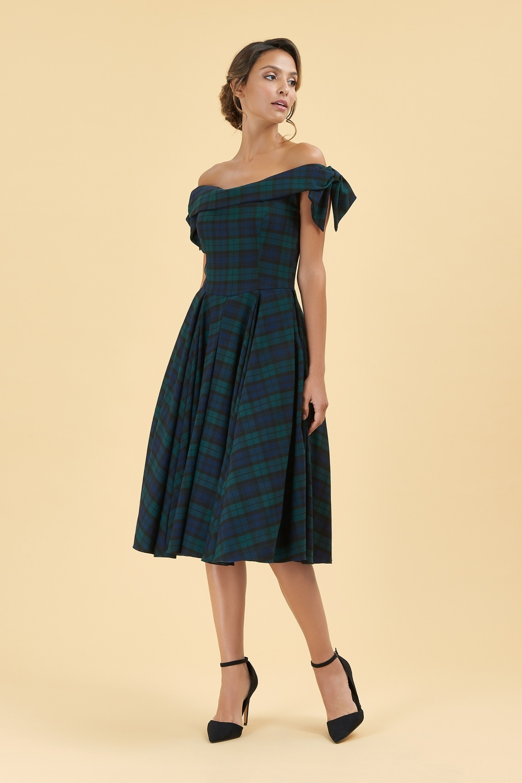 6ecc7b47f31 The Pretty Dress Company Tilly Tartan Off The Shoulder Prom Dress