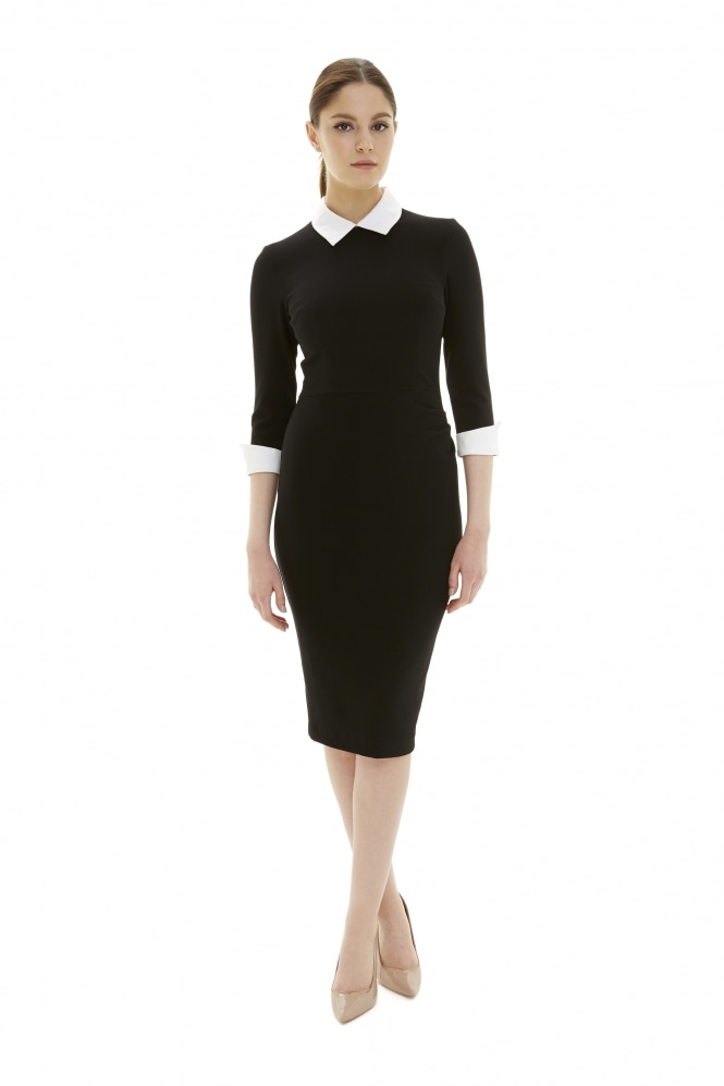 The Pretty Dress Company Uma Contrast Collar Pencil Dress