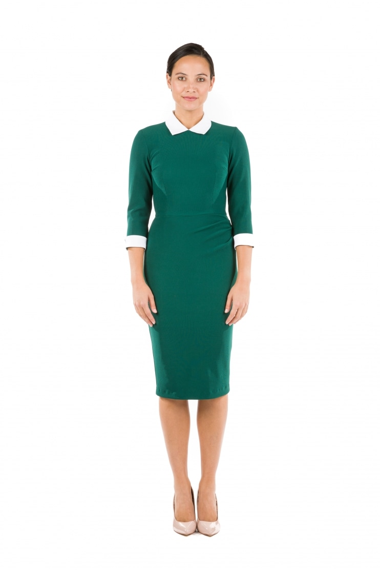 Uma Contrast Collar Pencil Dress