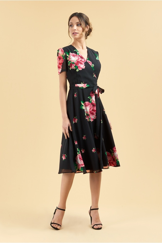 7f91a26e787676 The Pretty Dress Company Vintage Lamour Floral Chiffon Wrap Dress
