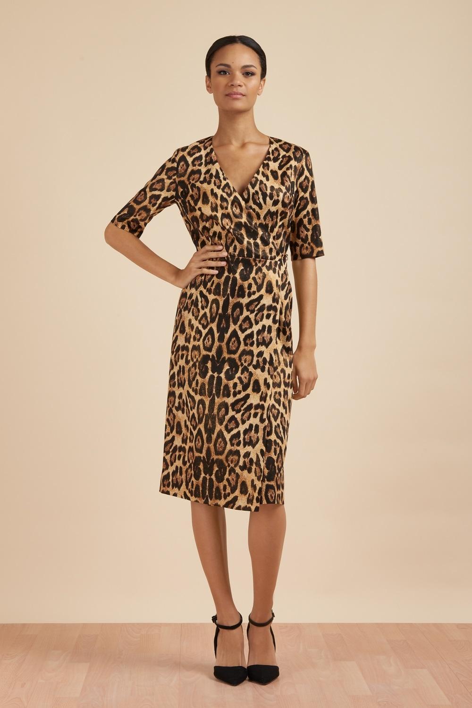 65bedcb1d2 The Pretty Dress Company Zoe Leopard Print Wrap Midi Dress - SALE ...